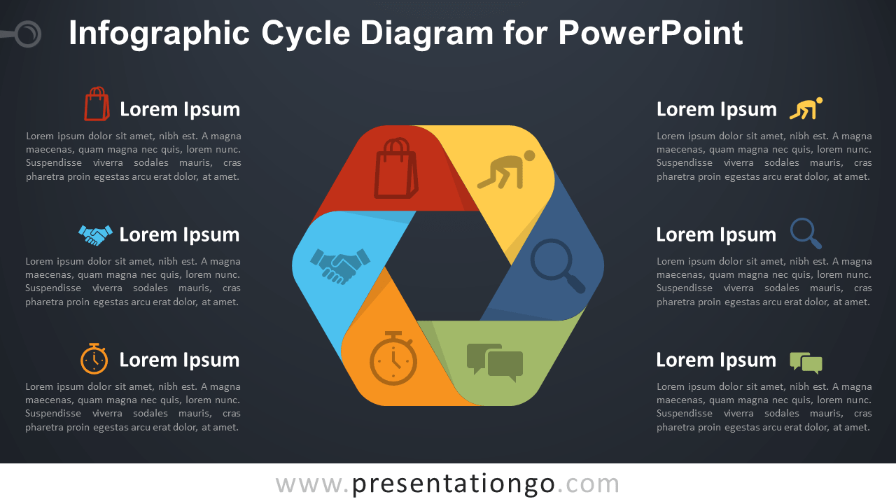 Free Infographic Cycle for PowerPoint - Dark Background