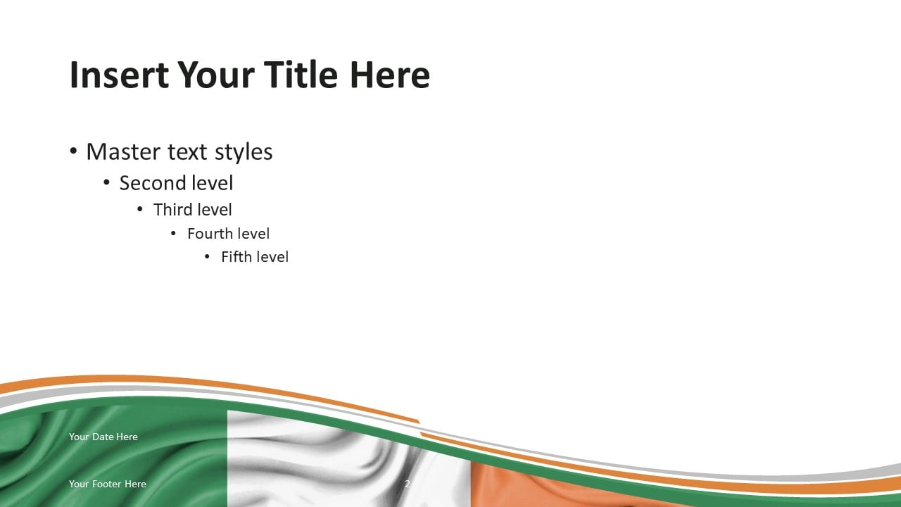Ireland Flag - Free PowerPoint Template - Title and Content Slide