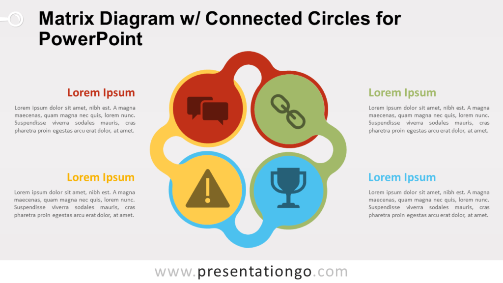 Free Matrix with Connected Circles for PowerPoint