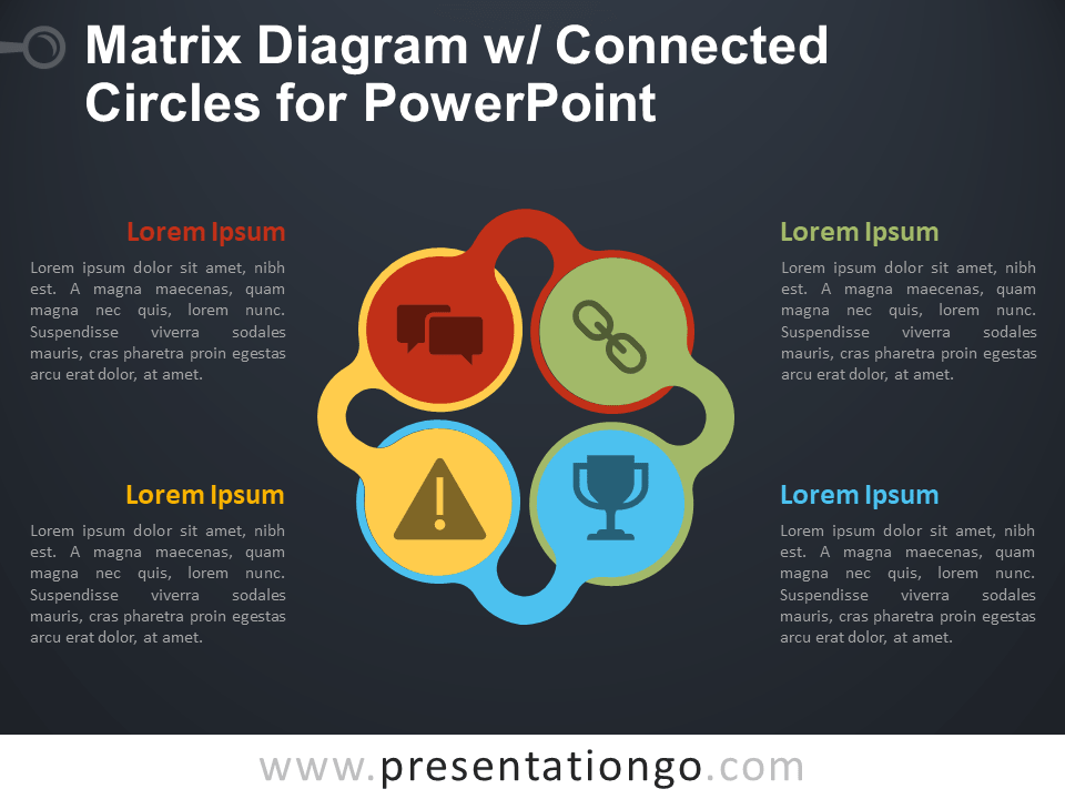 Free Matrix Diagram with Connected Circles for PowerPoint - Dark Background