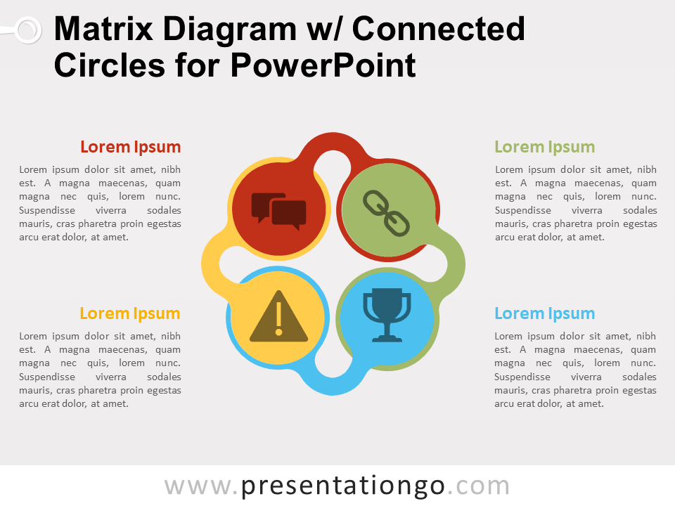 matrix diagram w   connected circles for powerpoint