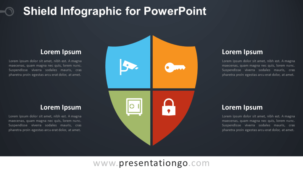 Free Matrix Shield Infographic for PowerPoint - Dark Background