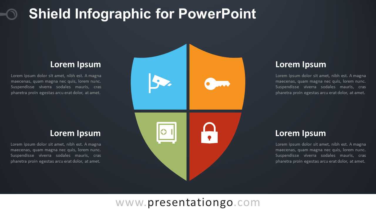 Free Matrix Shield Infographic for PowerPoint - Dark Background