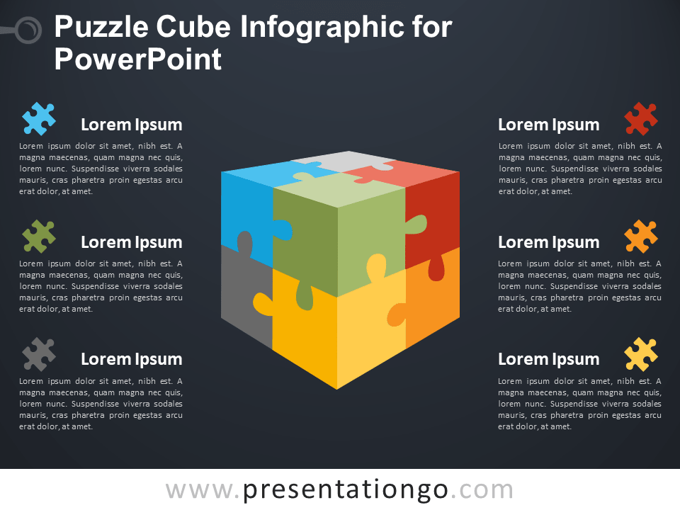 Free Puzzle Cube Infographic for PowerPoint - Dark Background