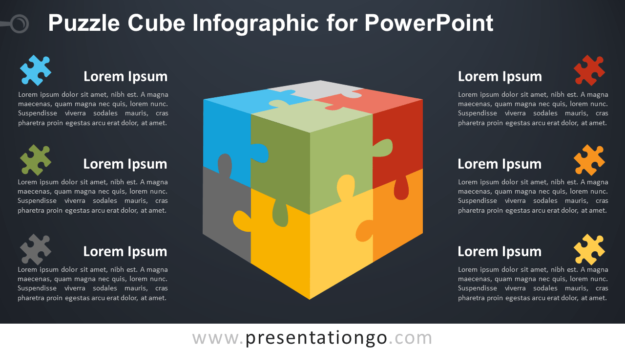 Free Puzzle Cube for PowerPoint - Dark Background