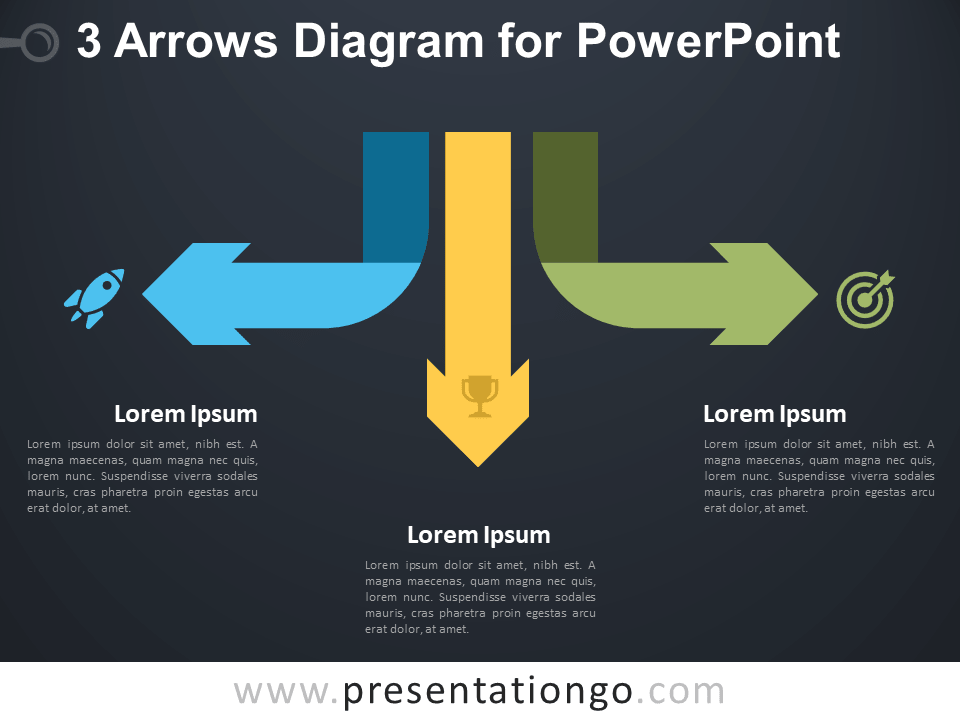 Free 3 Arrows Diagram for PowerPoint - Dark Background