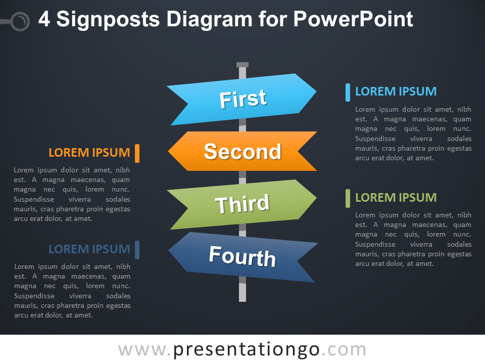 Free 4 Signposts Diagram for PowerPoint - Dark Background