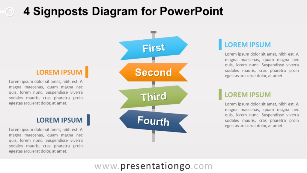 Free 4 Signposts PowerPoint Diagram