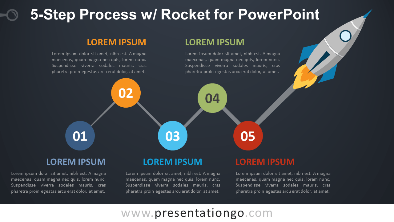 Free 5-Step Process Diagram and Rocket for PowerPoint - Dark Background