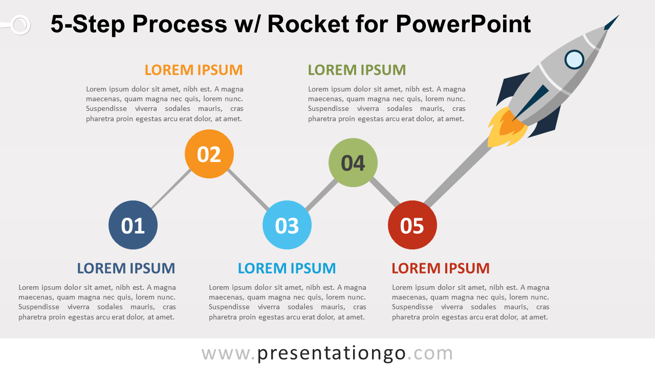 Free 5-Step Process Diagram and Rocket for PowerPoint