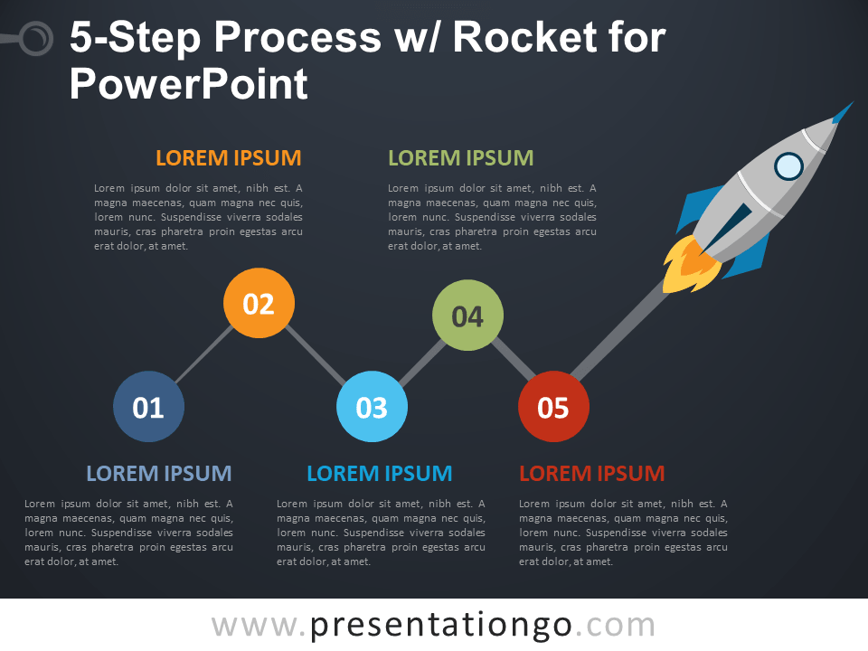Free 5-Step Process and Rocket for PowerPoint - Dark Background