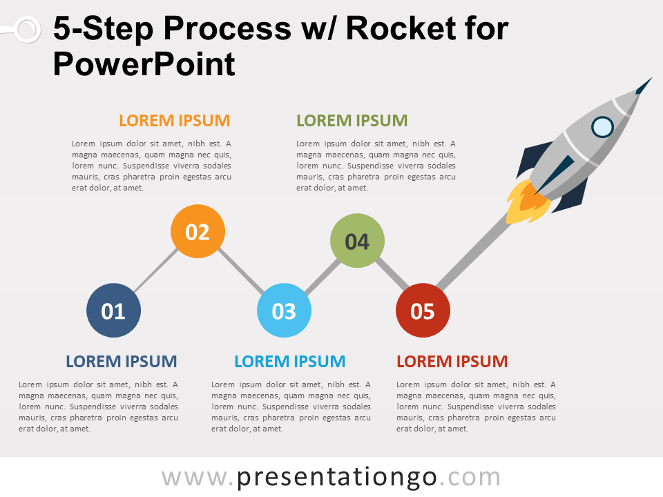 Free 5-Step Process and Rocket for PowerPoint