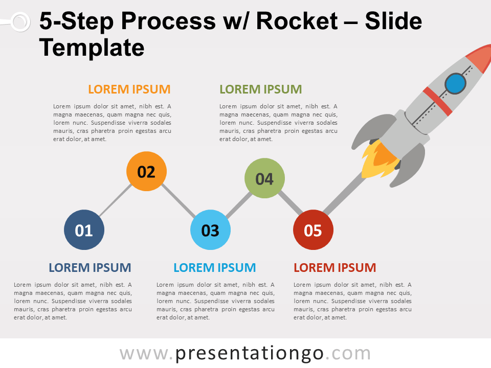 Free 5-Step Process with Rocket for PowerPoint and Google Slides