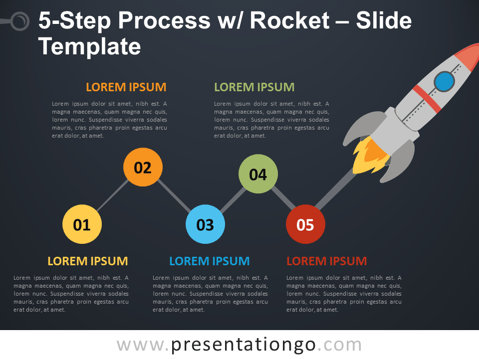 Free 5-Step Process with Rocket for PowerPoint