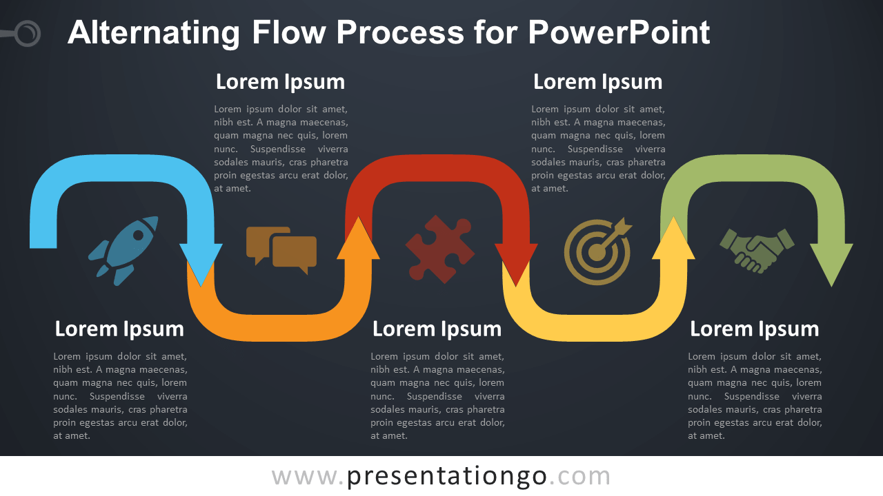 Free Alternating Flow Process Diagram for PowerPoint - Dark Background