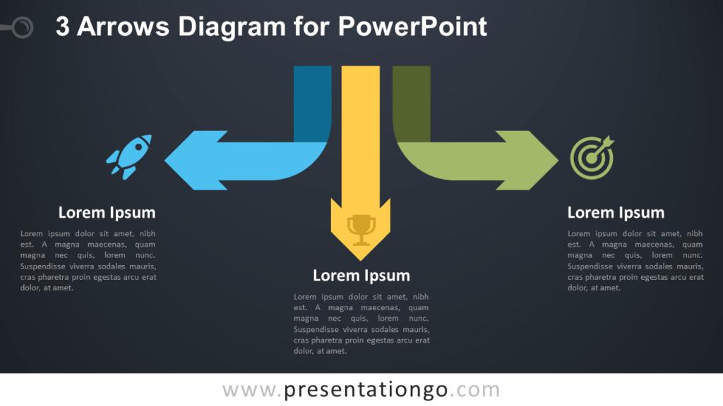 Free Arrows Diagram for PowerPoint - Dark Background