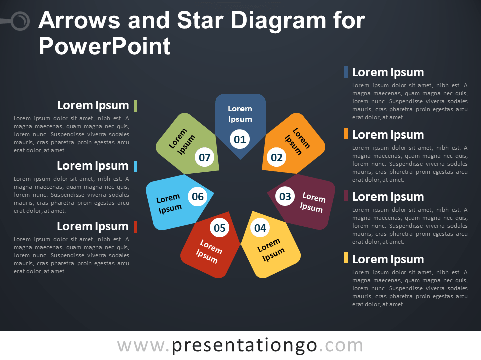 Free Arrows and Star Diagram for PowerPoint - Dark Background