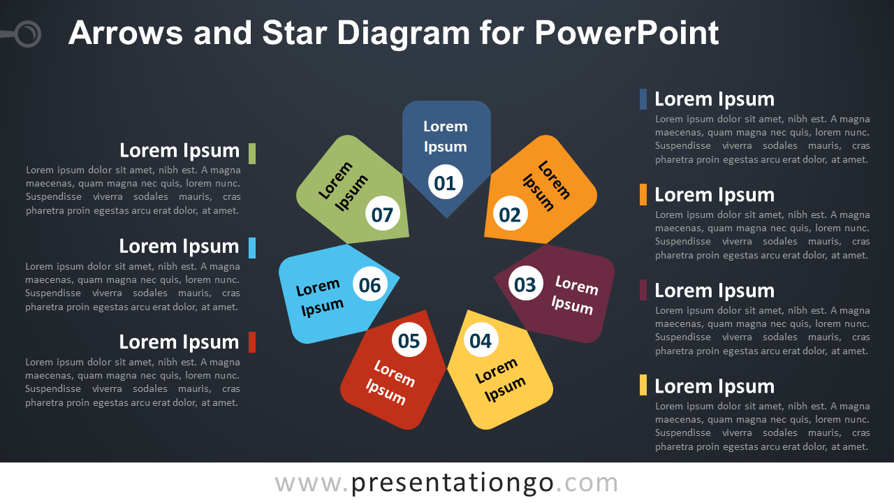 7 Arrows and 1 Star PowerPoint Diagram - Dark Background