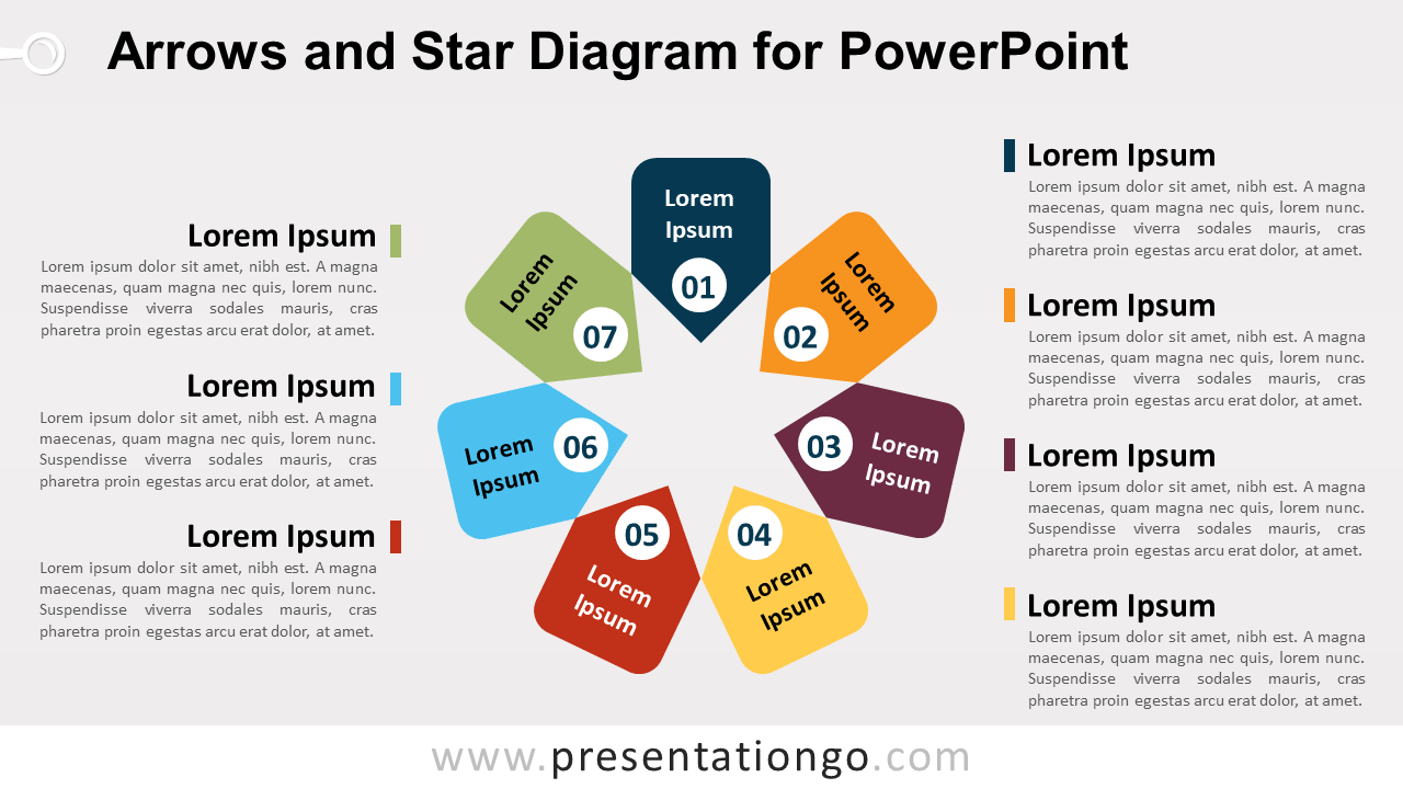 7 Arrows and 1 Star PowerPoint Diagram