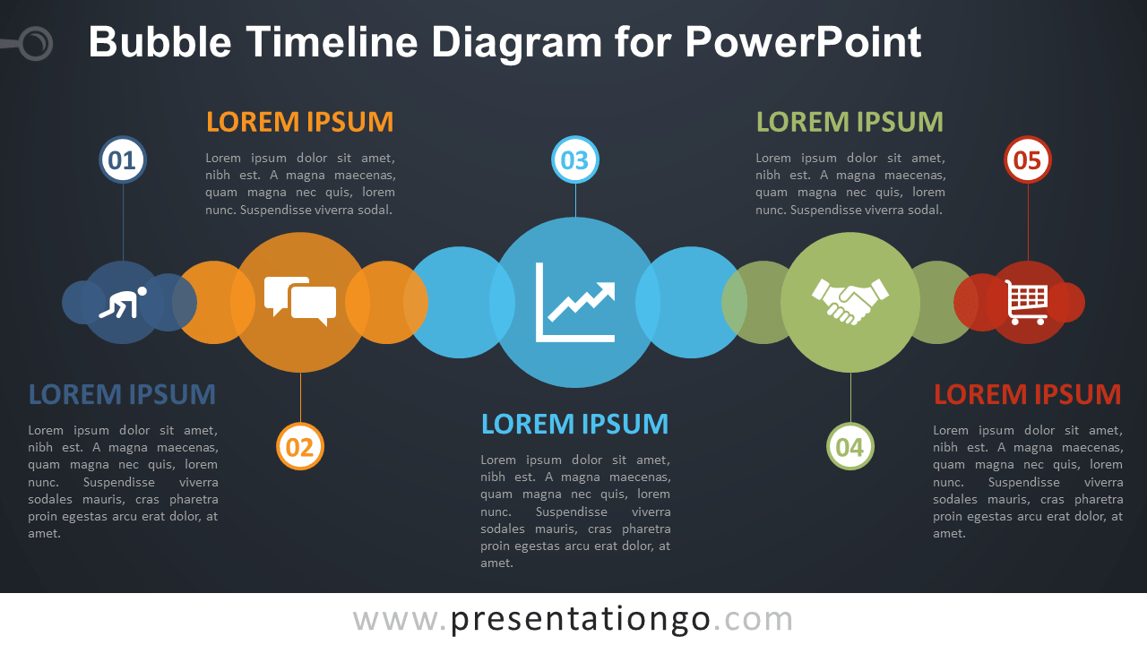 Free Bubble Timeline PowerPoint Diagram - Dark Background