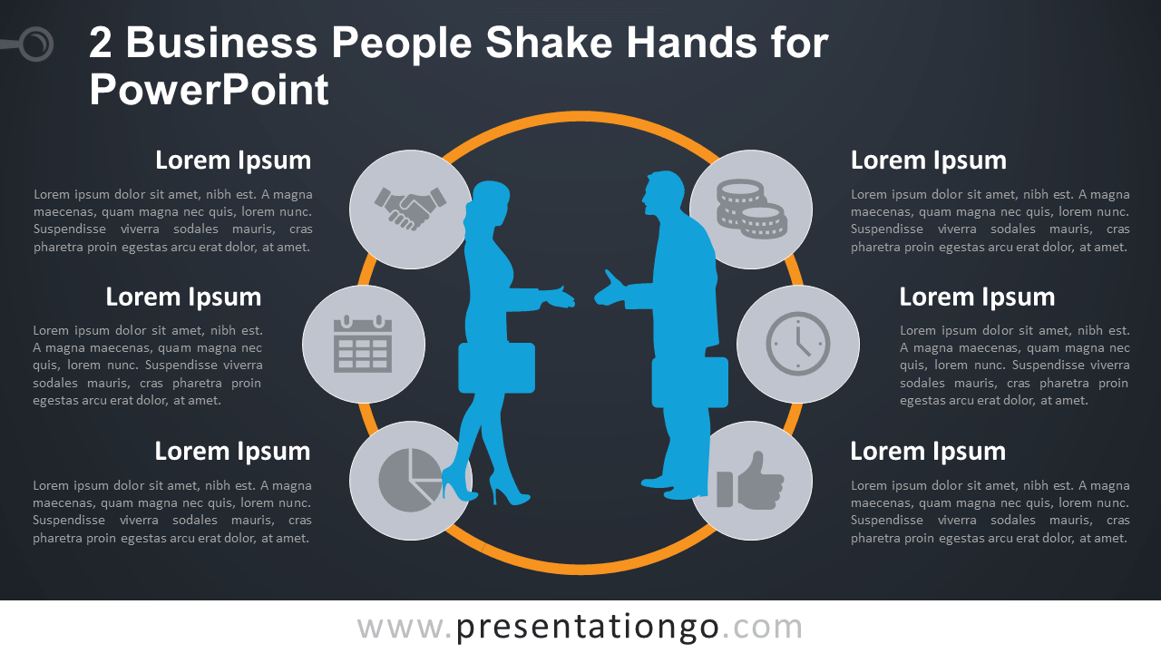 2 business people shake hands for powerpoint