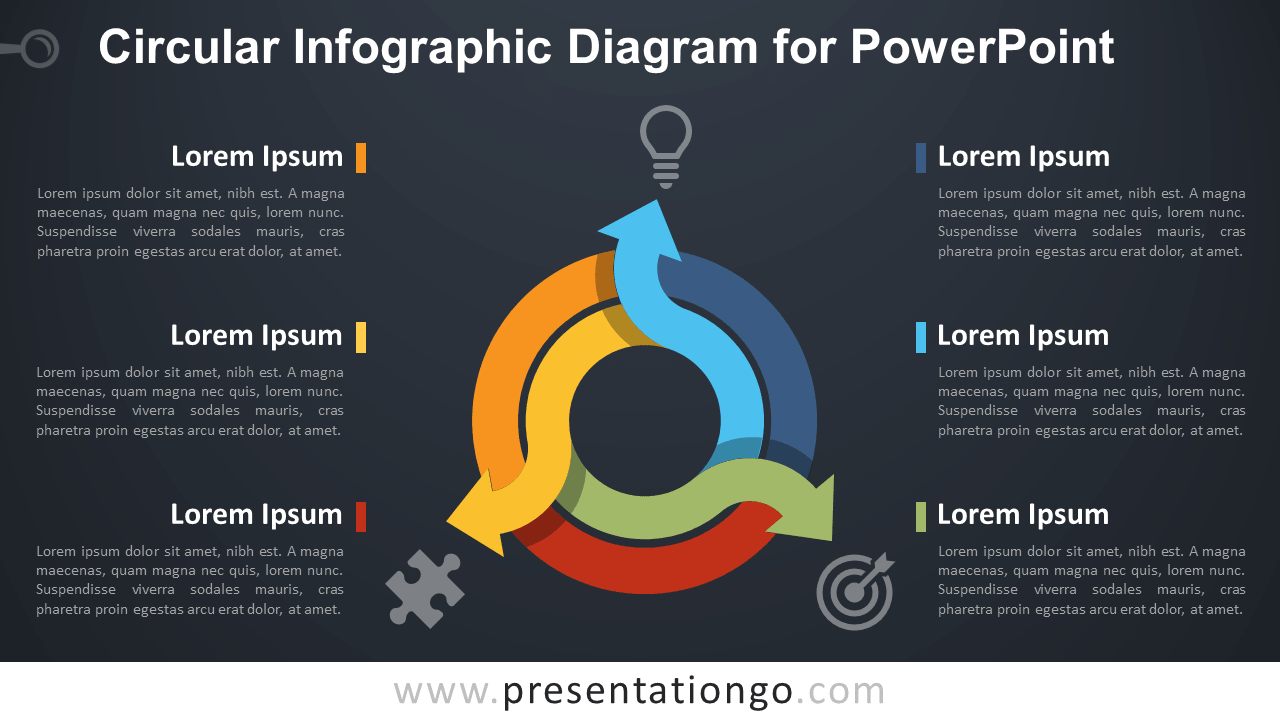 Free Circular Diagram for PowerPoint - Dark Background