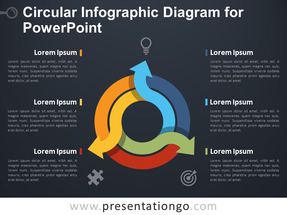 Free Circular Infographic Diagram for PowerPoint - Dark Background