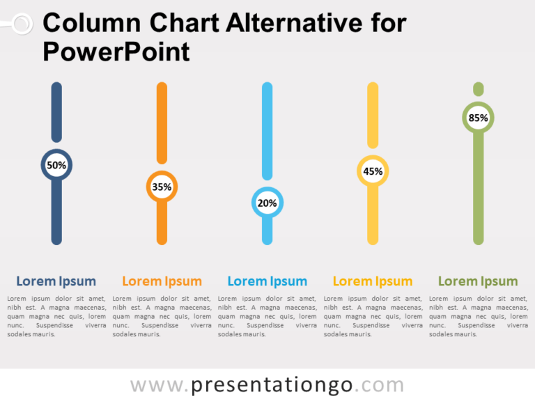 Free column chart alternative for PowerPoint with 5 vertical level indicators