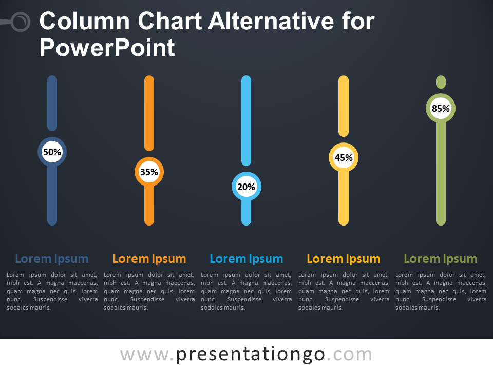 Free Column Chart Alternative for PowerPoint - Dark Background