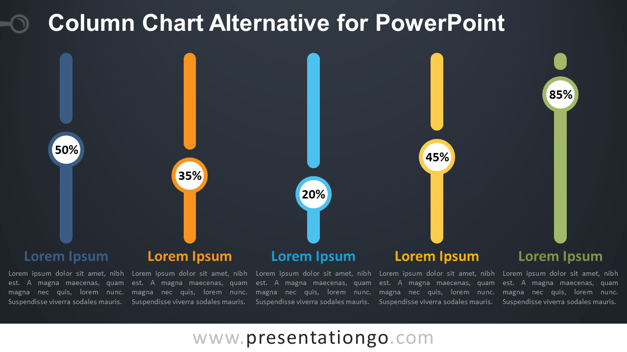 Free Column Chart Alternative PowerPoint Infographics - Dark Background