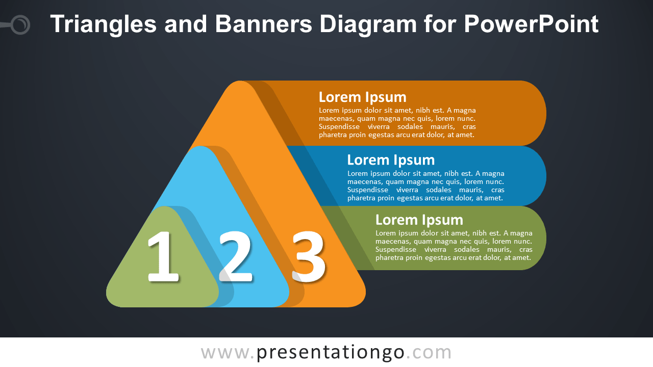 Free Layered Triangles and Banners for PowerPoint - Dark Background