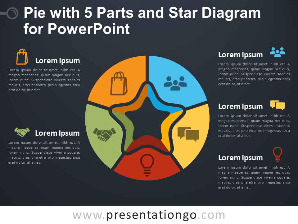 Free Pie with 5 Parts and Star Diagram for PowerPoint - Dark Background