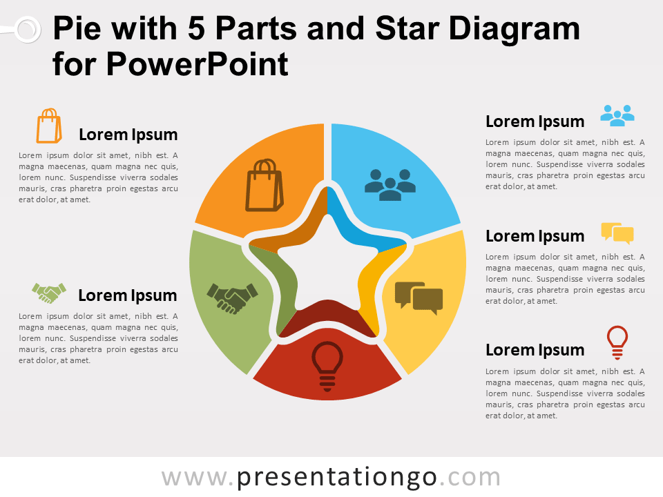 Free Pie with 5 Parts and Star Diagram for PowerPoint
