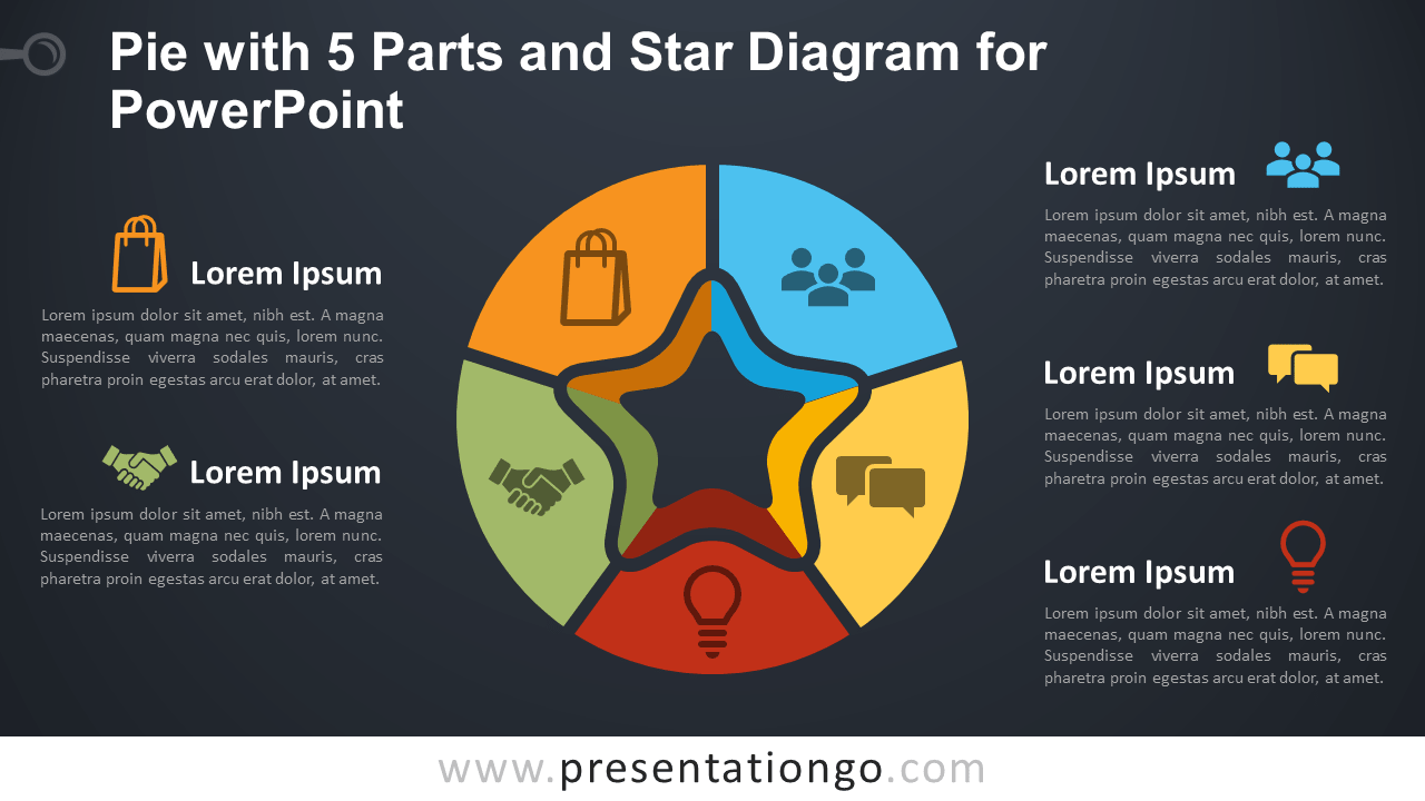 Free Pie Chart with 5 Parts and Star Diagram for PowerPoint - Dark Background