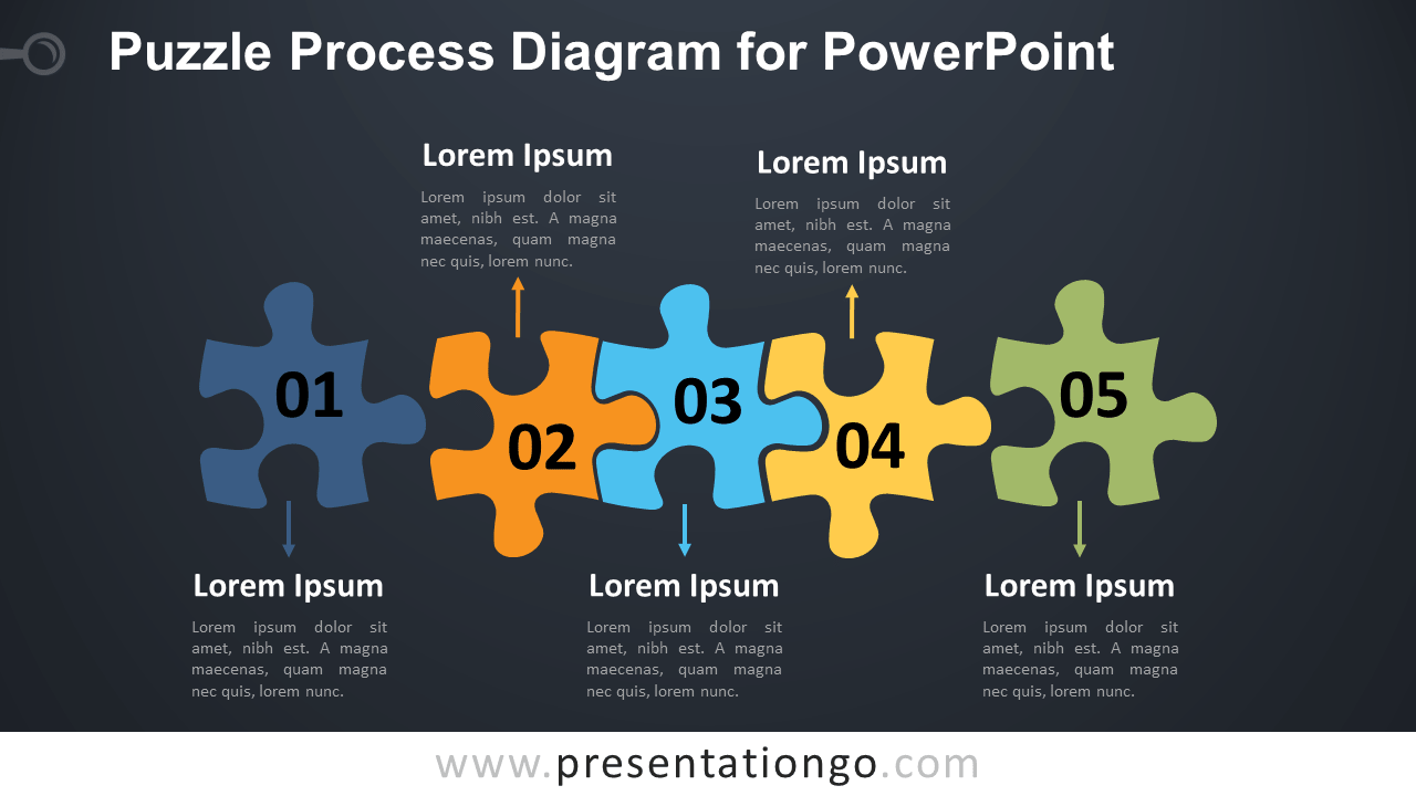 Free Puzzle Process PowerPoint Diagram - Dark Background