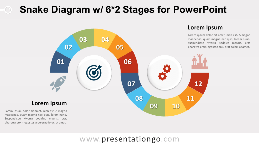 Free Snake Process Diagram with 6x2 Stages for PowerPoint