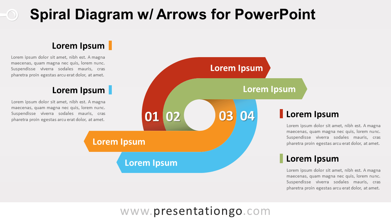 Free Spiral with Arrows PowerPoint Diagram