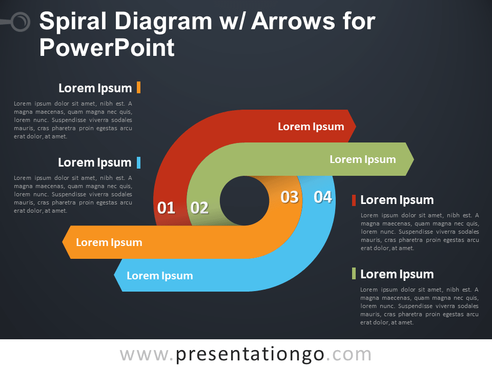 Free Spiral Diagram with Arrows for PowerPoint - Dark Background