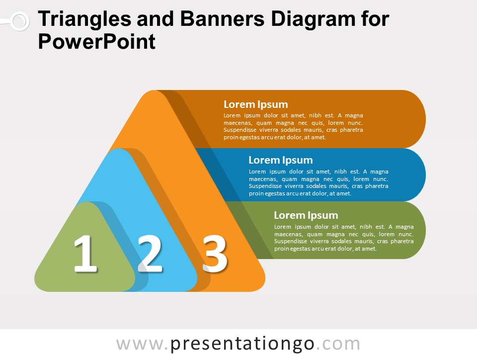 triangles and banners diagram for powerpoint presentationgo com