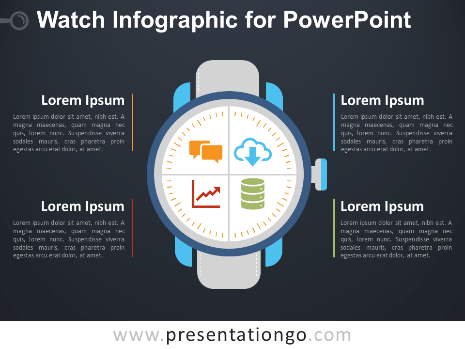 Free Watch Infographic for PowerPoint - Dark Background