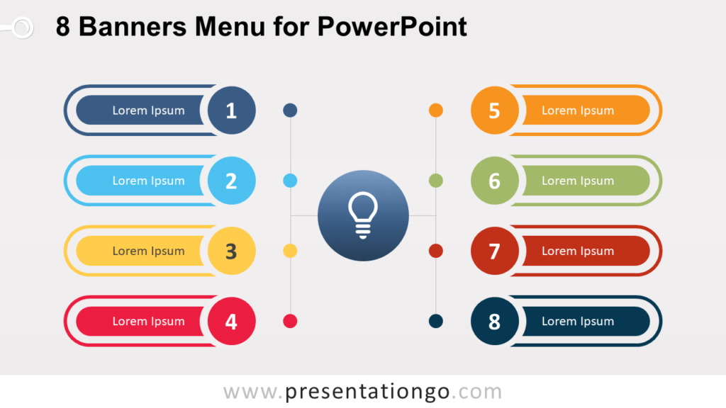 Free 8 Banners Menu for PowerPoint (Widescreen)