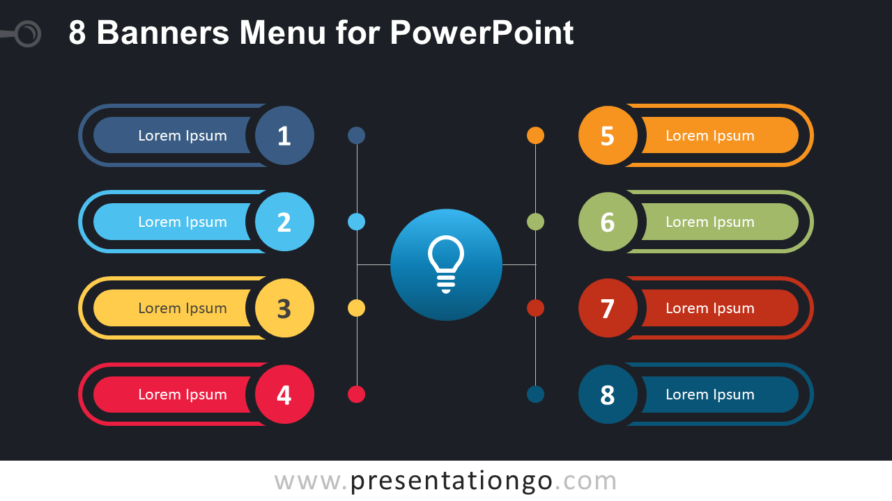 Free 8 Banners Menu for PowerPoint (Widescreen) - Dark Background