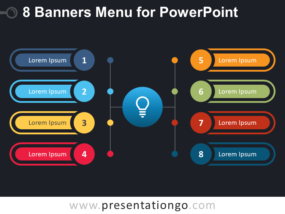 Free 8 Banners Menu for PowerPoint - Dark Background