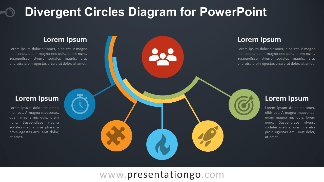 divergent circles diagram for powerpoint - presentationgo.com