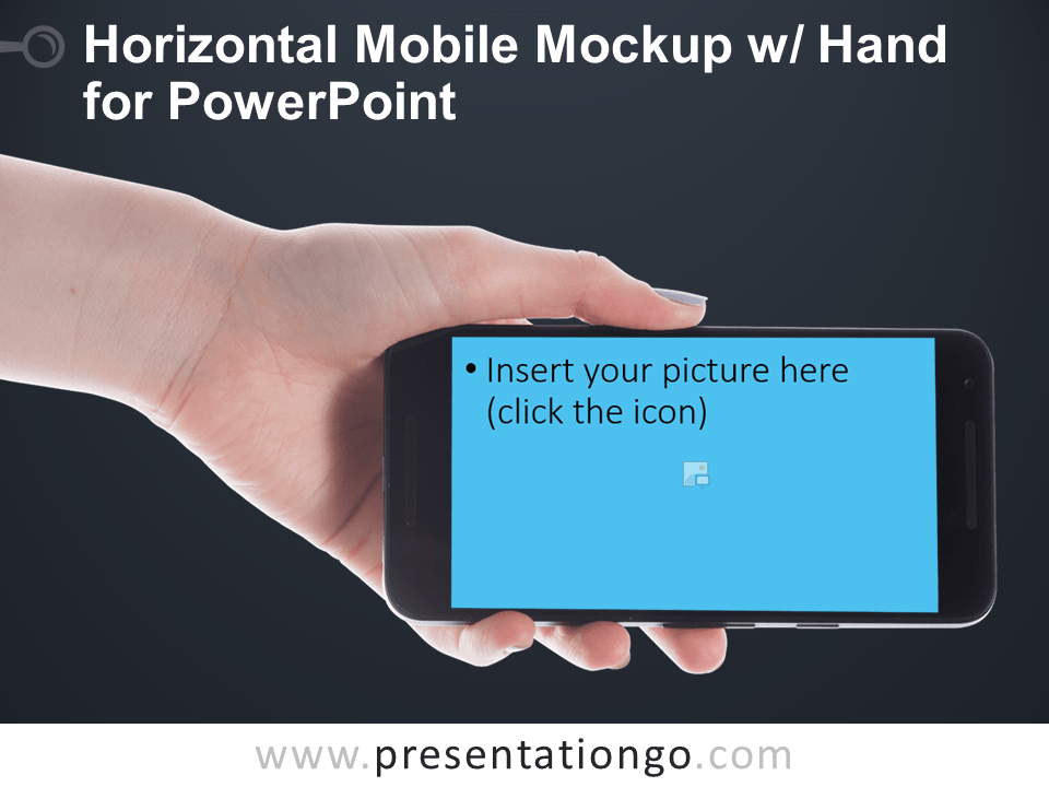 Free Horizontal Mobile Mockup with Hand for PowerPoint - Dark Background