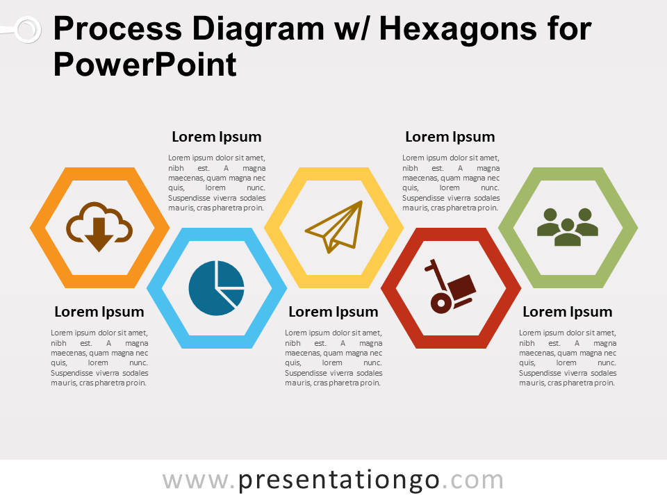 Free Process Diagram with Hexagons for PowerPoint