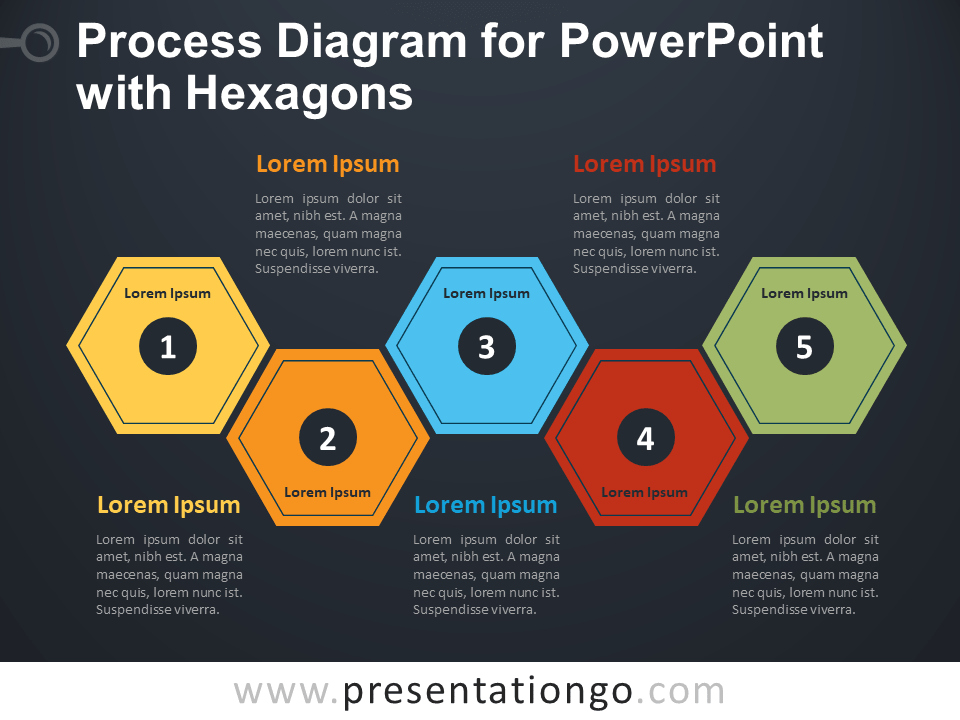 Free Yet another Process Diagram for PowerPoint with Hexagons - Dark Background