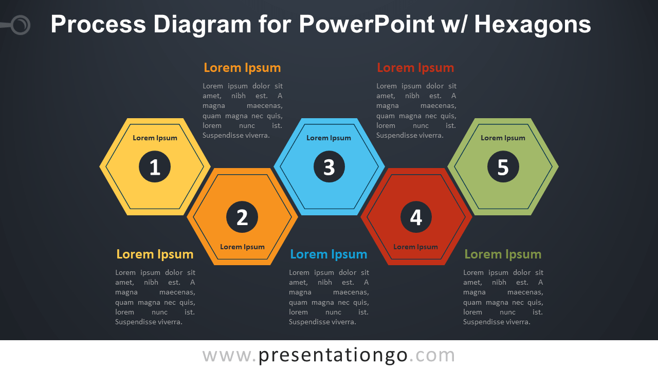 Free Process PowerPoint Diagram with Hexagons - Dark Background