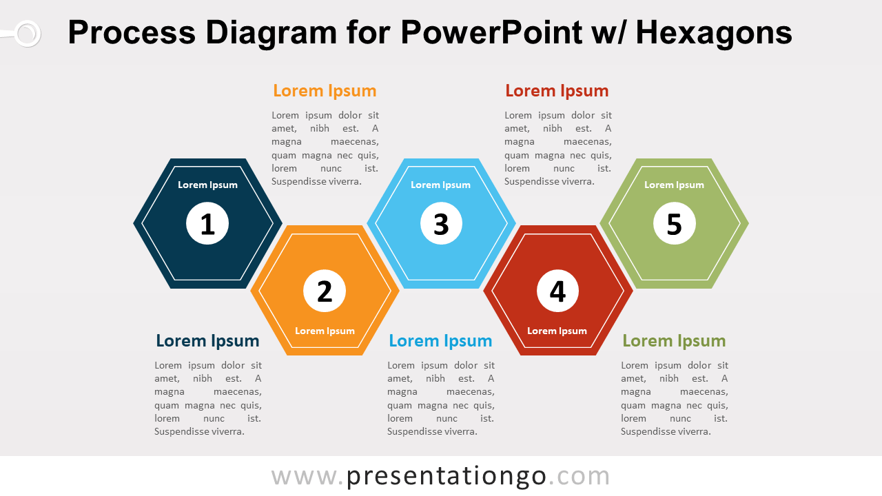 Free Process PowerPoint Diagram with Hexagons