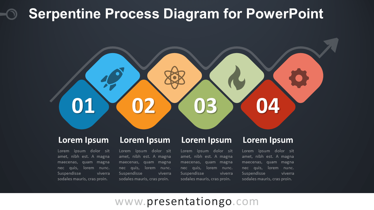 Free Serpentine Process PowerPoint Diagram - Dark Background